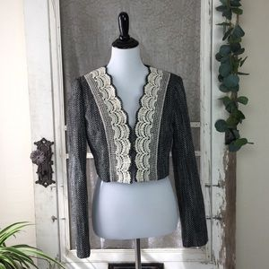 Anthropologie tweed & crochet lace crop jacket